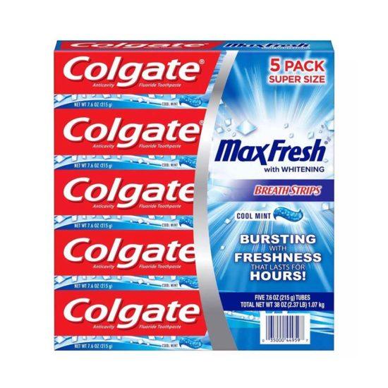 Caja Colgate, MaxFresh Pasta Dental Cool Mint (5 ct. 7.6 oz. 215 gr. c/u)