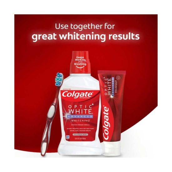 Caja Colgate, Optic White Pasta Dental Blanqueadora Blanco Brillante (5 ct. 119 gr. c/u)