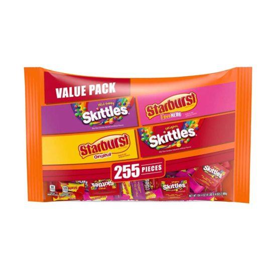 Caja Starburst y Skittles Caramelos de Fruta Variado (104.4 oz. 255 ct.)