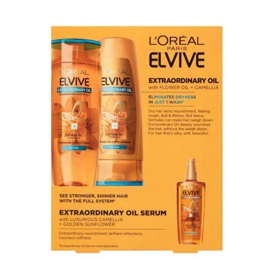 L'Oreal Paris Elvive, Extraordinario Aceite Nutritivo, Shampoo & Acondicionador (2 ct. 375 ml c/u)