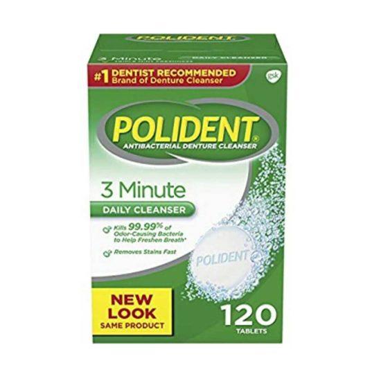 Polident Limpiador antibacteriano para dentaduras postizas con triple menta, 3 minutos, tabletas efervescentes (120 pzas.)